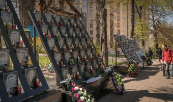 Memorial to the Heroes of the Heavenly Hundred near Independence Square and the Hotel Ukraine. Erected in honour of those that died during Euromaidan.
