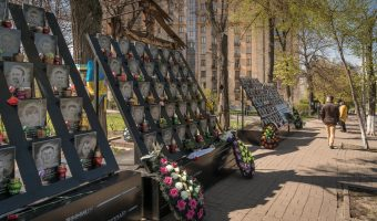 Memorial to the Heroes of the Heavenly Hundred (protesters that died in Euromaidan). Located near Independence Square and the Hotel Ukraine.
