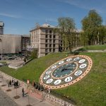 Floral Clock on Heroyiv Nebesnoyi Sotni Alley in Kiev. Khreshchatyk, the main street in the city, can also be seen.