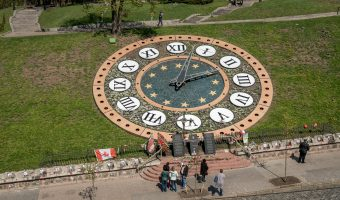 The Floral Clock (Flower Clock) on Heroyiv Nebesnoyi Sotni Alley in Kiev, adjacent to Independence Square.
