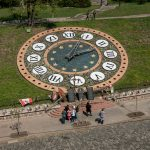 The Floral Clock near Independence Square in Kiev. Monuments to those killed during Euromaidan can be seen before the clock. This area was the scene of many fatalities.
