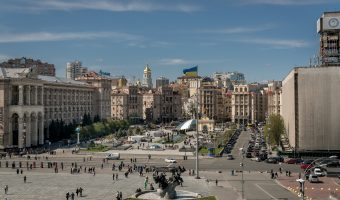 Photo of Independence Square in Kiev, Ukraine. The Monument to the Founders of Kiev can be seen in the foreground. The Central Post Office is on the left, and Khreshchatyk mid-frame.