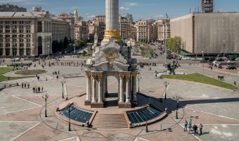 The pedestal of the Independence Monument on Independence Square (Maidan Nezalezhnosti) in Kiev, Ukraine.
