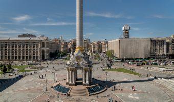 Photo of the Independence Monument on Independence Square (Maidan Nezalezhnosti) in Kiev, Ukraine.