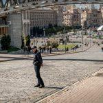 Photo of a Ukrainian policeman stood on Heroyiv Nebesnoyi Sotni Alley in Kiev, near Independence Square.