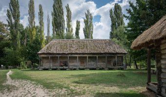 Old wooden granary at Pyrohiv, Kiev, Ukraine