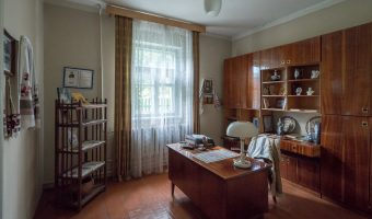 Interior of 1960s village house from Zhytomyr region of Ukraine. Situated at the Pyrohiv / Pirogov Museum of Folk Architecture and Everyday Life in Kiev, Ukraine.