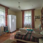 Bedroom of 1960s village house from Zhytomyr region of Ukraine. Situated at the Pyrohiv / Pirogov Museum of Folk Architecture and Everyday Life in Kiev, Ukraine.