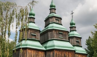 18th century wooden church from Cherkasy region of Ukraine. Situated at Pyrohiv.
