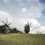 Wooden windmills at Pyrohiv (Pirogov) in Kiev.