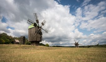 Wooden windmill at Museum of Folk Architecture and Everyday Life in Kiev, Ukraine
