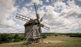 Wooden windmill at Pyrohiv/Pirogov in Kiev, Ukraine