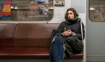 Photo of a girl on a Kiev Metro train. Taken at Heroiv Dnipra Metro Station.