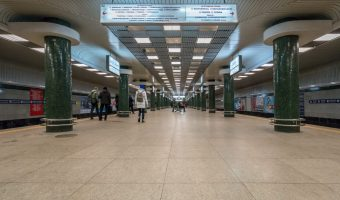 Photograph of platform at Holosiivska Metro Station in Kiev, Ukraine