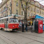 Photograph of a tram at Kontraktova Ploshcha (Contract's Square). Near Kontraktova Ploshcha Metro Station.