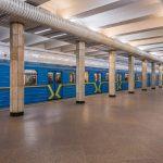 Train stopped at Sviatoshyn Metro Station.