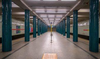 Central hall and platforms atNyvky Metro Station.