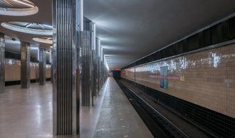 Platform at Beresteiska Metro Station in Kiev, Ukraine.