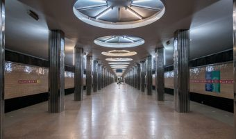 Photograph of interior ofBeresteiska Metro Station.
