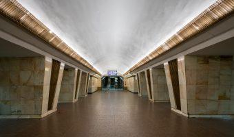 Central hall and escalators at Politekhnichnyi Instytut Metro Station in Kiev, Ukraine.