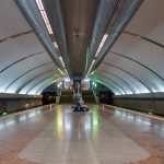 Platforms at Boryspilska Metro Station in Kiev, Ukraine.