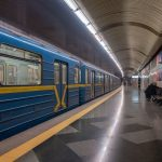 Photograph of a train at Vyrlytsia Metro Station in Kiev, Ukraine.