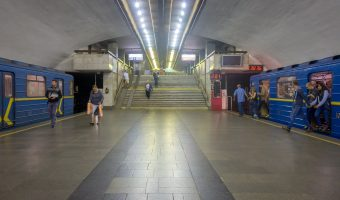 Platforms and stairs to exit at Kharkivska Metro Station in Kiev, Ukraine.