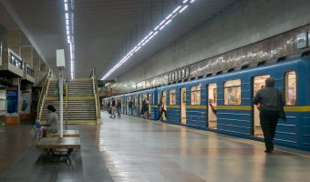 Photo of a train at Pozniaky Metro Station in Kiev.