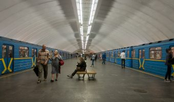 Photograph of trains at Osokorky Metro Station in Kiev, Ukraine.