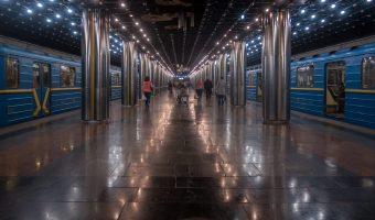 Trains at Slavutych Metro Station in Kiev, Ukraine.