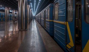 Train at platform of Slavutych Metro Station in Kiev, Ukraine.