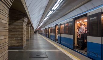 Train at platform of Druzhby Narodiv Metro Station In Kiev.