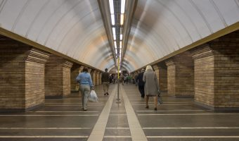 Passengers walking towards the exit at Druzhby Narodiv Metro Station In Kiev.