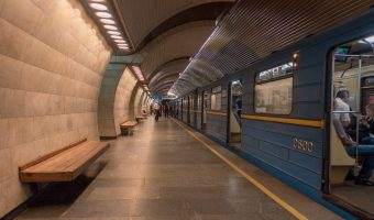 Photo of a train at Pecherska Metro Station in Kiev, Ukraine.