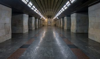 Photograph of the central hall at Klovska Metro Station in Kiev, Ukraine.