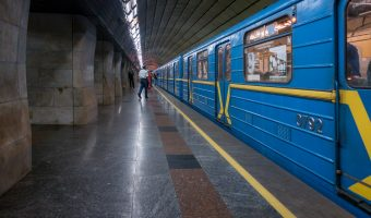 Photo of a train at Klovska Metro Station in Kiev, Ukraine.