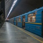 Photograph of a train at Palats Sportu Metro Station in Kiev, Ukraine.