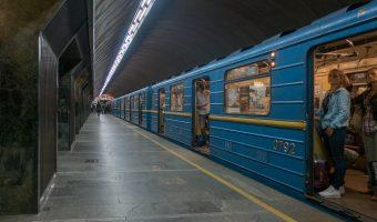 Photograph of a train at Palats Sportu Metro Station in Kiev, Ukraine.