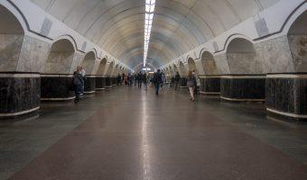 Central hall at Lukianivska Metro Station in Kiev, Ukraine.
