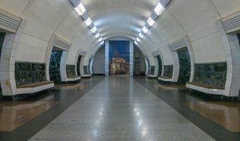 Photograph of the central hall at Dorohozhychi Metro Station in Kiev, Ukraine.