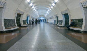 Photograph of Dorohozhychi Metro Station in Kiev, Ukraine.
