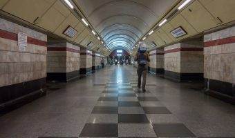 Photo of the central hall at Syrets Metro Station in Kiev, Ukraine.
