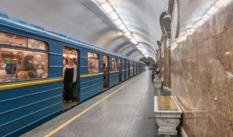 Train stopped at platform at Universytet Metro Station in Kiev, Ukraine.