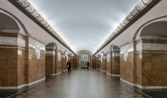 Central hall at Universytet Metro Station in Kiev, Ukraine.