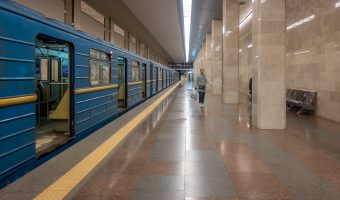 Train at Chervony Khutir Metro Station in Kiev, Ukraine.