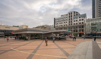Photo of Olimpiiska Metro Station and Velyka Vasylkivska Street in Kiev.