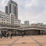 Photograph of Olimpiiska Metro Station and Velyka Vasylkivska Street in Kiev, Ukraine.