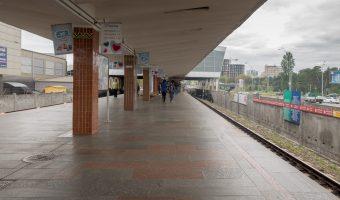 Photograph of Darnytsia Metro Station in Kiev, Ukraine.