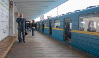 Photo of train at Livoberezhna Metro Station.