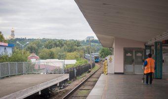 Train approaching Hydropark Metro Station in Kiev, Ukraine.